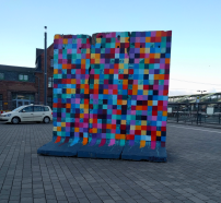 Pieces of the Berlin wall on the #Giessen train station square, adapted by art collective 17/365