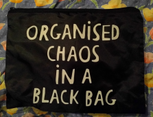 I'd been looking for a small bag to store cables etc for travel for ages. Found it at @FlyingTigerDe. I love the slogan! 20/365