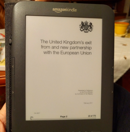 Reading the Brexit white paper. Poor Kindle. 33/365