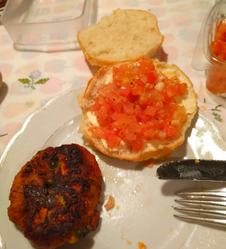 Dinner: cheesey bread with [colourless!] bruschetta and vegetarian fried thing. Pretty good, picture doesn't do justice! 37/365